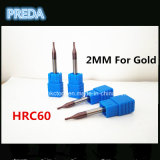 HRC60 cortadores do carboneto das flautas do CNC 4 para o ouro
