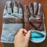 Перчатки для деятельности холода, перчатка зимы кожаный зимы работая, кожаный зима работая теплые перчатки, перчатки зимы кожи с сохранённым природным лицом коровы ворсистые выровнянные теплые работая