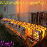 DMX&Battery& Kibetic impermeável sem fio que ilumina 12 a PARIDADE lisa do diodo emissor de luz de *10W RGBW 4in1