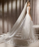 0023 A - linha vestidos de casamento do desenhador do trem da corte do revestimento do laço