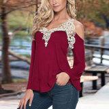 Lacet de hors fonction-Le-Épaule épissant T-shirt de chemise de collet de V le long pour des femmes