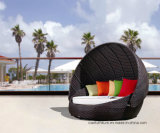 Outdoor moderno Furniture Wicker/Rattan Round Sunbed con Canopy