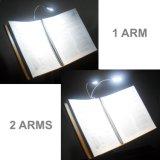 Indicatore luminoso per agrafe flessibile doppio delle braccia 4 LED del caricatore del USB per la lampada di lettura del libro del computer portatile del piano