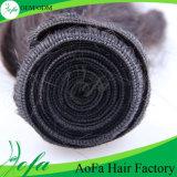 100%の加工されていなく自然で黒い人間のバージンのマレーシアの毛のよこ糸