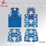 安い習慣最新のデザイン青およびギャリーカラーCamoのバスケットボールジャージー