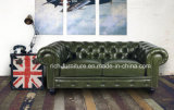 Sofá clássico de Chesterfield do couro do vintage da alta qualidade para a sala de visitas