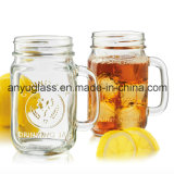 Taza/taza de cristal para beber con la tapa, tarro de masón