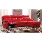Sofá reclinável de couro vermelho em espelho 6041lm