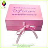 De met de hand gemaakte Doos van het Karton van Kerstmis Vouwbare Roze met de Sluiting van het Lint