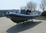 Barco de motor inflable rígido de China Aqualand 21feet los 6.4m/salto/rescate/patrulla/pesca/barco de la costilla (RIB640T)