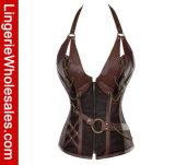 Корсета Bustiers сбор винограда Steampunk стальных косточки сексуальных женщин 14 кожаный