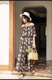 Bodycon MIDI Kleid mit erläuterten Blumenmotiv-Schatz-Ausschnitt-Isolationsschlauch-Schultergurten
