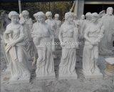 Weiße Marmorsteinkunst-schnitzende Tierstatue/Skulptur für Garten-Dekoration