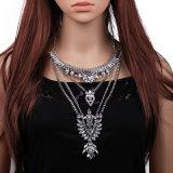 新しい貿易贅沢な多層合金の吊り下げ式の低下の完全なダイヤモンドネックレス