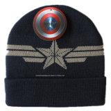 Beanie quotidien de laines de logo de jacquard de Knit d'hiver de neige acrylique faite sur commande de sports