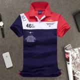 제조자 고품질 간결 소매 대조 색깔 자수 폴로 셔츠