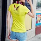 La chemise de circuit de mode de Wholesal personnalisent les dames 100% de coton de chemise de polo