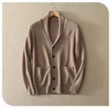 Cardigan di lavoro a maglia del cachemire puro degli uomini per il cappotto spesso del maglione di inverno con il collo singolo Breasted della casella V dell'inserto
