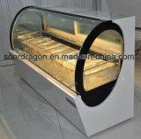 Vetrina commerciale del gelato di figura ovale