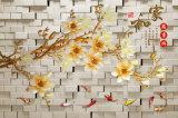 Muster der Steinwand-3D mit schönem LandschaftsÖlgemälde