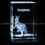 Cubo del canguro del laser del cristal 3D (ND11085)