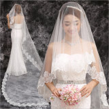 2017 вспомогательных оборудований венчания вуали горячего края шнурка длины собора сбывания Bridal