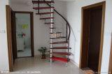 Escalera espiral con el pasamano de madera del acero inoxidable de la pisada