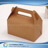 Rectángulo de empaquetado plegable ambiental del papel de Kraft para la torta del alimento (xc-fbk-047)