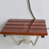 Cuarto de baño montado en la pared plegable asiento de ducha de madera de teca birmana