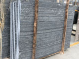 Azulejos de madera de las losas del mármol del grano del negro ácido de la colada de China