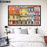 写実主義多彩な都市家のキャンバスプリント
