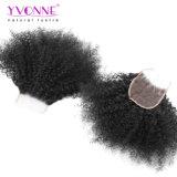 4X4 아프로 꼬부라진 브라질 Virgin 머리 레이스 마감 4X4는 부분 사람의 모발 마감 자연적인 색깔을 해방한다