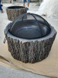 bildet im Freienbaum-Stumpf-Feuer des Faux-24inch Filterglocke Löcher