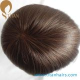Natural Hairline Indian Remy Cabelo Front Lace Toupee para Homens