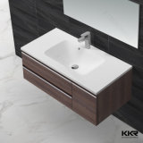 Раковина Corian мебели ванной комнаты твердая поверхностная с деревянным шкафом