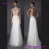 Heißer reizvoller Halter geöffnet zurück und wulstiges Transprent Hochzeits-Kleid