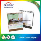 Calendrier de bureau personnalisé promotionnel avec la carte de couleur de peinture