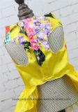 Alineada de lujo del animal doméstico del satén de Bowtie de la impresión de la flor del diseño de la calidad 2016
