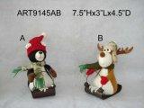 Alces de Camo del arbolado de la Navidad y oso negro con Canos de madera, 2 Asst