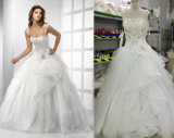 袖が付いている新しい到着の夜会服の花嫁のウェディングドレス