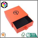 Rectángulo de empaquetado de la joyería del regalo del papel del negro de la insignia del oro