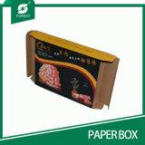 Caixa de papel ondulada superior de empacotamento de carne da dobra com indicador