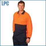 Long uniforme de polo de sûreté de Micro-Maille de Cooldry de chemise de visibilité élevée