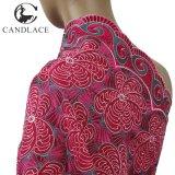 Tela rosada del cordón de la gasa de la materia textil de algodón del color de Fushia