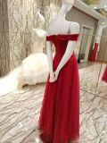 Vestido de noite de perolização vermelho do corpete para o casamento
