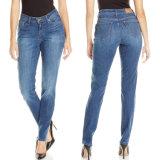 A sarja de Nimes magro das mulheres da forma do OEM da fábrica arfa calças de brim básicas do algodão