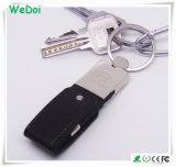 Vara de couro da memória do USB do giro com corrente chave (WY-L13)