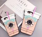 Cubierta linda del teléfono celular de la taza del agua de la historieta de la caja del silicón para el iPhone 5 (XSF-071) del iPhone 6s 6plus