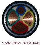 O núcleo XLPE do Cu Yjv33 isolou o cabo distribuidor de corrente Sheathed de fio de aço PE blindado fino