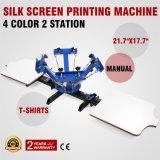 Prensa de la pantalla de seda de la estación del color 2 de China 4, impresora manual de la pantalla